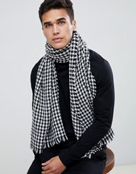 Selected Homme Scarf In Houndstooth Pattern Black