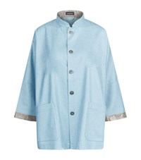 Eskandar Mandarin Collar Jacket Female Blue