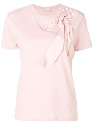 Red Valentino Bow Embellished T Shirt Pink And Purple