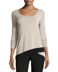 Chelsea And Theodore Ruched Sleeve Top With Mesh Oatmeal He