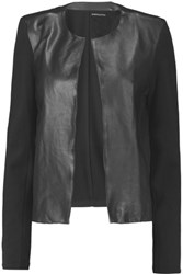Majestic Leather Paneled Cotton Cashmere And Silk Blend Jersey Jacket Black
