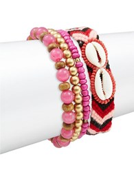 Design Lab Lord And Taylor Four Piece Multi Color Beaded Cloth Bracelet Set Red
