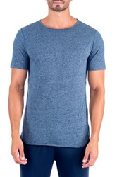 Unsimply Stitched Super Soft Relaxed Neck Short Sleeve Lounge Tee Blue