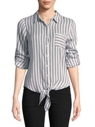 Ivanka Trump Stripe Blouse Blue Ivory