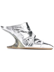 Rick Owens Metallic Ruched Mules
