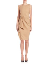 Carolina Herrera Day Collection Gathered Front Dress Camel
