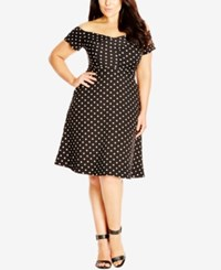 City Chic Plus Size Off The Shoulder Dot Print Dress Ivory