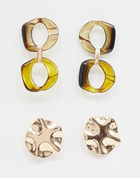 Stradivarius Stud And Resin Pack Gold