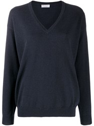 Brunello Cucinelli V Neck Sweatshirt Blue