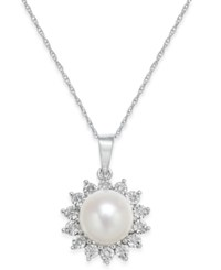 Macy's Cultured Freshwater Pearl 8Mm And Diamond Accent Pendant Necklace In 10K White Gold