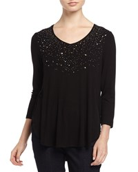 Joan Vass Three Quarter Sleeve Sequin Top Black