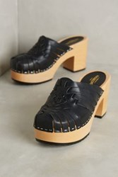 Anthropologie Swedish Hasbeens Huarache Clogs Black 37 Euro Wedges
