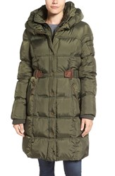 Larry Levine Women's Quilted Down And Feather Fill Coat Pesto