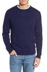 Vineyard Vines Men's Wool And Cashmere Cable Knit Sweater Deep Bay