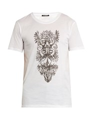 Balmain Totem Print Crew Neck Cotton T Shirt White