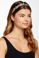 Cara Accessories Feather Ribbon Stretch Headband Beige