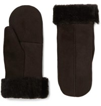 Dents Inverness Shearling Lined Suede Mittens Brown