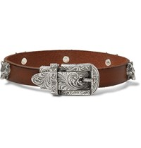 Gucci Burnished Leather And Silver Tone Bracelet Brown