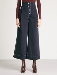 Moandco. Wide Leg Cotton Twill Trousers Peacoat