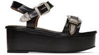 Toga Pulla Black Buckle Flatform Sandals