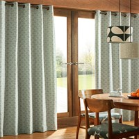 Orla Kiely Woven Acorn Cup Eyelet Curtains Powder Blue