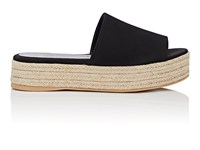 Barneys New York Satin Espadrille Slide Sandals Black