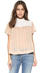 Sea Lace Trim Tee Camel