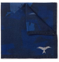 The Workers Club Printed Wool Twill Pocket Square Blue