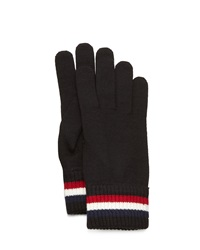 Moncler Striped Logo Cashmere Knit Gloves Black