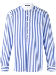 Andrea Pompilio High Neck Striped Shirt Blue