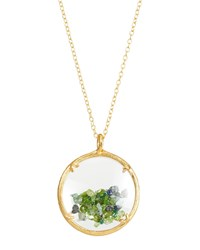 Catherine Weitzman Shaker Birthstone Pendant Necklace Green