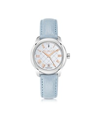 Trussardi T01 Lady Stainless Steel And Blue Leather Women's Watch Silver