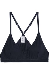 Base Range Racer Back Stretch Bamboo Soft Cup Bra Blue