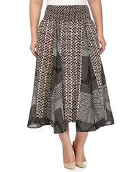 Neiman Marcus Geometric Print Smocked Skirt Black