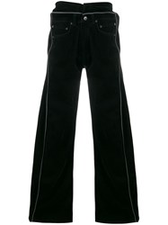 Y Project Wide Leg Flared Trousers Black