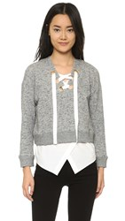 Derek Lam Melange Sweatshirt With Lacing Grey Melange