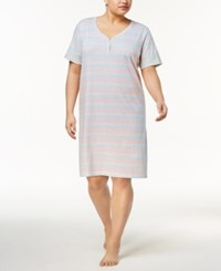 Charter Club Plus Size Banded Sleepshirt Created For Macy's Variegated Stripe