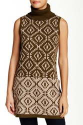 Romeo And Juliet Couture Sleeveless Printed Turtleneck Sweater Brown