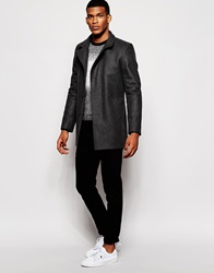 Reiss Wool Overcoat With Funnel Neck Charcoal