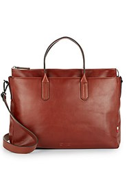 Ben Minkoff Brompton Leather Briefcase Cognac
