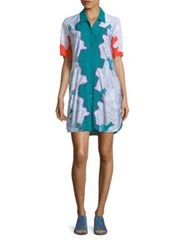 3.1 Phillip Lim Surf Silk Floral Shirt Dress Turquoise
