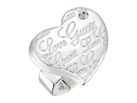Guess Script Logo Heart Stretch Ring Silver Crystal Ring
