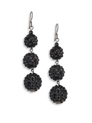 Kenneth Jay Lane Three Ball Black Crystal Drop Earrings