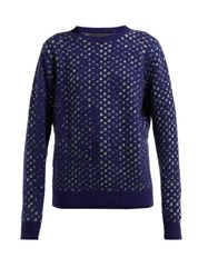 The Elder Statesman Leo Spot Jacquard Cashmere Sweater Blue Multi
