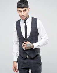 Noose And Monkey Super Skinny Db Waistcoat In Brushed Check Grey