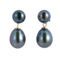 A B Davis Freshwater Pearl Drop Earrings Black