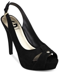 G By Guess Women's Cathy Slingback Platform Pumps Women's Shoes Black Suede