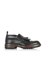Santoni Black Fringed Leather Anckle Boots
