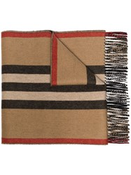Burberry Striped Scarf Neutrals