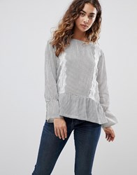 B.Young Stripe Top With Lace Panels Combi 1 Multi